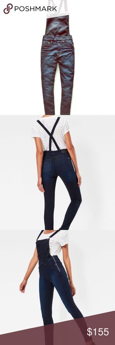 3301 High waist Skinny G-Star Overalls 🔹Stripped back to the essentials, this skinny overall has just the right balance of classic denim style and modern detailing 🔹A zip-closure accents one hip and fine rivets mark the scooped front pockets 🔹Thanks to just the right amount of stretch, they feel as good as they look 🔹Skinny Fit 🔹High waist 🔹Narrow from thigh to hem 🔹Offset zip-closure 🔹Fabric is: 35% Tencel®, 35% cotton, 28% polyester, & 2% elastane🔹Skillfully finished with gentle…