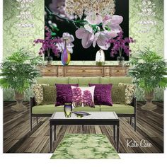 Violet and Green Room Design by Kate Case    #ProjectDecor  #StyleExchange  #ComplementaryColorSchemes  #ComplementaryRoomDesigns