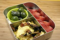 Scrambled eggs with bacon, olives, and pluot slices in the LunchBots Trio  http://www.lunchbots.com/trio-stainless-steel-food-container-red.html