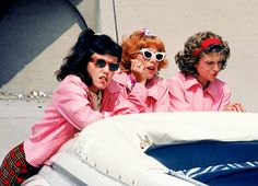 grease. the pink ladies. jan, frenchie and marti. 1978/