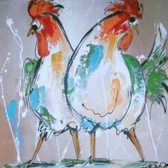 Rechter kleurig bonte kippen You are in the right place about Birds Drawing line Here we offer you t Rooster Painting, Rooster Art, Chicken Painting, Chicken Art, Bird Drawings, Animal Drawings, Galo, Animal Paintings, Bird Art