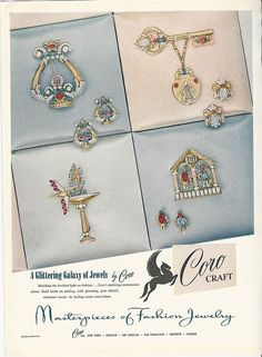 1946 CORO Craft Rhinestone PINS Brooches Earrings vintage costume JEWELRY Ad