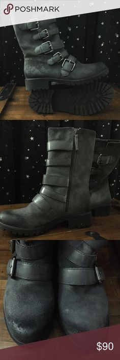 Naya Darryn Graphite Lead Oiled Suede/Leather Boot Soon after bought these boots I found the black ones and decided I liked them better. As a result I only wore these gray ones once, they're basically brand new but I don't have the original box. Here's the site I bought them on originally http://www.6pm.com/p/naya-darryn-graphite-lead-oiled-suede-leather/product/8392461/color/510337  They may look a bit brown in some pictures but they are not. They're gray with darker toes. They are also…