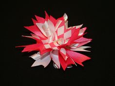 Pink and White Firecracker Bow