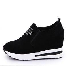 fe55b3fdc R$ 57.43 31% de desconto|KHTAA Rebanho Senhora Sapatilhas Casuais Preto/Vermelho  Saltos Baixos Mulheres Sapatos Altura Crescente Sapatos de Plataforma Tênis  ...