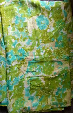 Green and blue Vintage Indian pure Georget saree/ wholesale