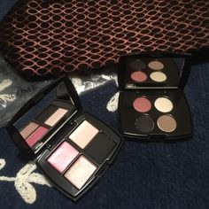 "Lancôme bundle! Make up bag /2 eye shadows Lancôme make up bag never used only took out of bag to take pictures. Two eye shadow one has colors Pink pearls, ""it"" list, makeover,pink zinc. The other has cream luste, luxe grey, visionary and statuesque. All new never used! Lancome Makeup Eyeshadow"