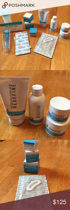 Rodan + Fields Skincare New full sized products, most in original packaging & never used. Includes, Daily Cleaning Mask, Pore Minimizing Toner, Multi-Function Eye Cream, Lip Renewing Serum, Night Renewing Serum, Macro Exfoliating System with partially used cleaning tablets, cooling gels, Wrinkle Reducing Patches. Also including additional partially used Lip & Night Renewing Serums. Rodan + Fields Makeup