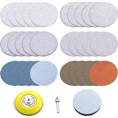 Soft Sponge Buffering Pad for DIY Woodworking 2-Inch 1000 Grit Aluminum Oxide White Dry Hook and Loop Sanding Discs with a 6mm Shank Backing Pad 30-Pack