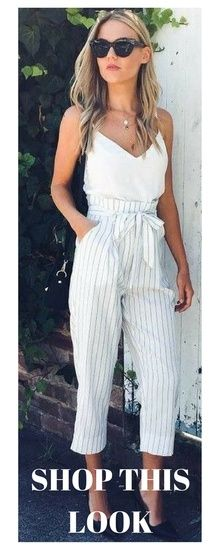 This white on white pinstripe look will kill for any occasion, dinner, drinks, or business! #whiteonwhite #pinstripes #outfitoftheday #shopthelook #afflink #asos #summer