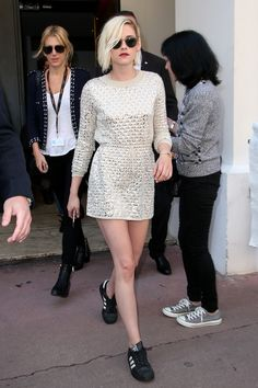 The $80 Sneakers Kristen Stewart Paired With a Fancy Dress at Cannes via @WhoWhatWear