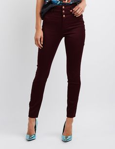 From our Refuge collection! Pull a double play for night and day with the Refuge Hi-Waist Skinny jeans! Stretchy, colored fabric forms a stacked waistband for a high-waisted look that's totally trending. Slim fit through the leg creates the sexiest skinnies, with patch pockets in back to stash your stuff.Zip fly with three top buttonsFaux front pocketsBrands We Love: Refuge