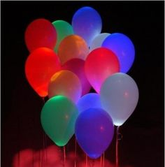 Glow sticks in balloons to light up in the dark. Love it!!