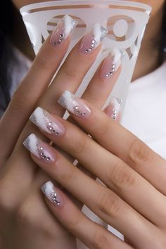 This article is about top bridal Nail art design this article includes 60 top class Different nail designs for bridal which are modern nail designs Elegant Nail Designs, Pretty Nail Designs, Pretty Nail Art, Nail Art Designs, Ongles Gel French, French Tip Nails, French Manicures, Nail Art Photos, Nails Design With Rhinestones