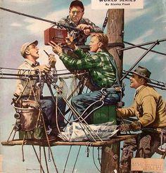 Linemen Listen To World Series Norman Rockwell Radios, Norman Rockwell Prints, Rockwell Paintings, Nostalgic Art, Composition Art, Graphisches Design, Stoner Art, Retro Cars, Artist Painting