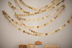 Gold confetti streamers perfect for a photo backdrop with draped fabric {ivory or white or pink}. Streamer Decorations, Streamers, Wedding Decorations, Circle Garland, Party Fiesta, Graduation Party Decor, Gold Polka Dots, Gold Confetti, Gold Party