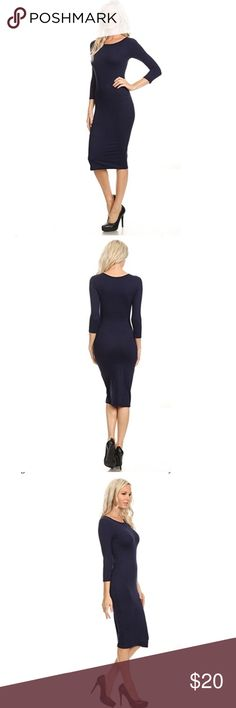 Navy Midi Bodycon Dress Work-or-Weekend this Elegant Artistry Bodycon Midi Dress Hugs those Curves like an Hour Glass figure we all want and love!  *Round Neckline  *Body-con  *3/4 Sleeve  *Midi Dress  *Fitted  *Solid Color  *Comfortable Dress  *Super Soft  *Stretchy   *90% Polyester, 10% Spandex Yelete Dresses Midi