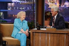 Betty talks with Jay Leno during a guest appearance. #BettyWhite