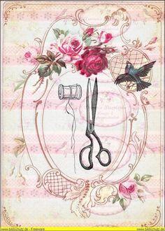 Bügelbilder - Vintage Fingerhut Bügelbild Shabby - ein Designerstück von Doreens-Bastelstube bei DaWanda