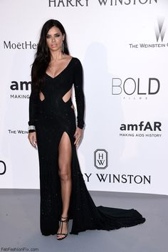 Adriana Lima wearing Alexandre Vauthier Couture gown at Cannes amfAR's 22nd Cinema Against AIDS Gala. #cannes #amfar