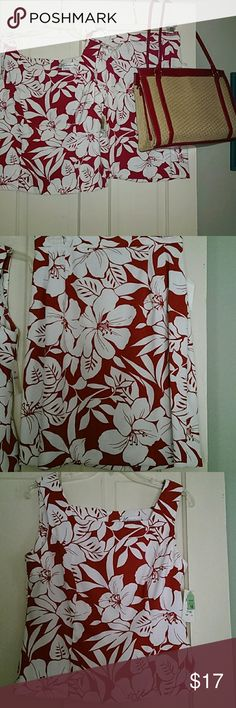 Tropical crimson and white 2 pc dressing NWT Vibrant crimson red and white tropical floral sleeveless top and matching skirt. Machine wash and dry, polyester/spandex blend. Dresses Midi