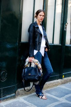 Love this tough look (great jacket) juxtaposed with a classic lady bag.