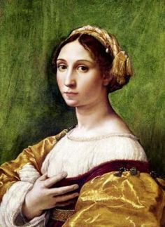 Buttons!  Portrait of a Young Woman,  by Raphael Sanzio (1483-1520)  Raffaello Sanzio da Urbino[ (April 6 or March 28, 1483 – April 6, 1520[3]), was an Italian painter & architect of the High Renaissance. His work is admired for its clarity of form & ease of composition & for its visual achievement of the Neoplatonic ideal of human grandeur.