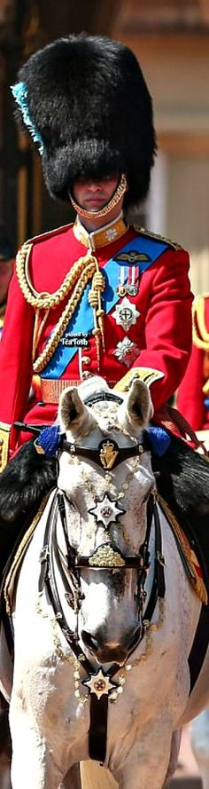 Prince William, the Duke of Cambridge, Colonel of the Irish Guards, on horseback