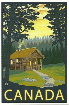 Lake Arrowhead, California -Cabin in the Woods - Lantern Press Artwork Giclee Art Print, Gallery Framed, Espresso Wood), Multi Party Vintage, Pub Vintage, Old Posters, Vintage Travel Posters, Lake Arrowhead California, Grand Lake Colorado, Poster Retro, Etiquette Vintage, Cabin In The Woods
