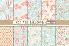 HOT AIR BALLOONS digital paper by Masha  Studio on @creativemarket