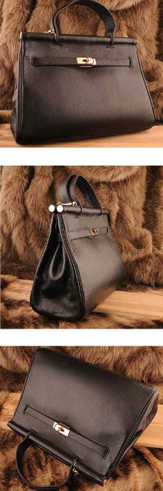 Womens #black genuine leather #satchel bags design with decorative belt