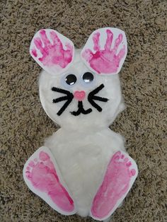 Bunny with child's handprints and footprints, made this with my grandsons this weekend, they loved it. I switched it up a little, used feet for ears & hands for the feet! So cute