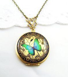 Green Butterfly Brass Locket. Resin Locket. by Silverbird1Jewelry