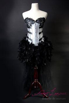 MEDIUM Carnevale : Tulle Skirt Burlesque Costume SILVER Black Las Vegas Showgirl Corset Adult Women's Carnival Masquerade