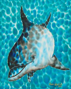 Daniel Jean-Baptiste is the world's leading silk painting artist. He specializes in tropical art painted in rich vibrant colours. Fabric Painting, Artist Painting, Hand Painted Fabric, Painted Silk, Baby Dolphins, Dolphin Art, Fabric Ornaments, Silk Art, Tropical Art