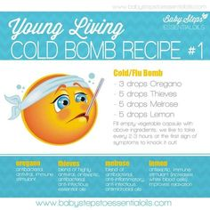 Young Living Cold Bomb recipe #1. Order or become a wholesaler and save! www.youngliving.com.Message me on fb I'll help you get started.