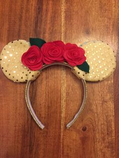 Belle Beauty And Beast Handmade Minnie Mickey Mouse Ears Disney Inspired (AH)
