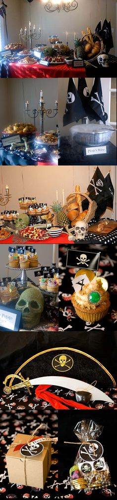 Look at the details: nautical netting, pineapple, silver candelabra [draped with jewels] & serving dishes, skull & bones, black & white bowls & fabric, pirate flags. 'Smoking' pirate punch. This lady pulls of an impressive pirate party -- and this was for a child's birthday party! Arrr!