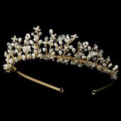 Gold Freshwater Pearl, Rhinestone & Swarovski Crystal Tiara Headpiece 2708