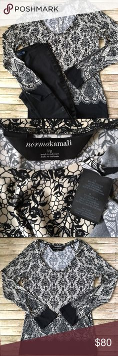 Norma Kamali Tunic Norma Kamali SZ Large Long Sleeve Cream with Black Print & Border Tunic. Fabric Content: 94% Polyester & 6% Spandex. EUC. Norma Kamali Tops Tunics