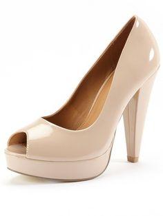 Love Label nude Cone Heel Open Toe Court Shoes