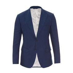 Dolce & Gabbana Peak-lapel linen-blend jacket (2,255 CAD) ❤ liked on Polyvore featuring men's fashion, men's clothing, men's outerwear, men's jackets and blue