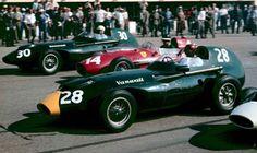 1958 Italian GP Start…# 28 Tony Brooks & # 30 Stuart Lewis-Evans, both in Vanwall VW57's & Mike Hawthorns' Ferrari Dino 246. Brooks the winner of the race from Hawthorn & Hill. Lewis-Evans DNF.