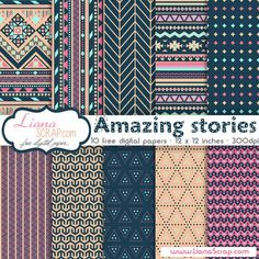 Free digital paper pack – Amazing stories Set - http://www.lianascrap.com/free-digital-paper-pack-amazing-stories-set/
