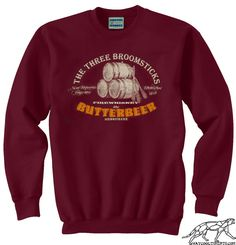 Harry Potter BUTTERBEER SWEATSHIRT UNISEX for Men or Women or Hogwarts Alumni or Even Muggles. Soft 90% Cotton Fleece Burgundy Sweater on Etsy, $32.00