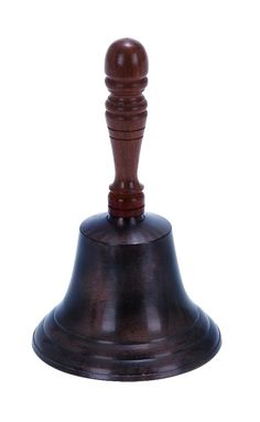 Black Aluminum Hand Bell Brown Wood Handle Classic Nautical D | lamp | lighting, furniture | accents, home decor | accessories, wall decor, patio | garden, Rugs, seasonal decor,garden decor,home decor & accessories
