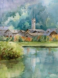 """https://www.facebook.com/MiaFeigelson """"Reflections"""" """"Riflessi"""" By Anna Ravera, from Molare, Italy (current location, Novo Liguri, Italy) (b. 1958) - watercolor on paper - http://www.annaravera.com/opere/"""