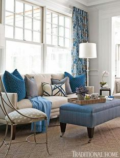 Classic living room with blue accents | Traditional Home. #laylagrayce #livingroom #blue