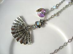 Sparkly Sawrovski Crystal Fan Charm Necklace by VespertineCosmos