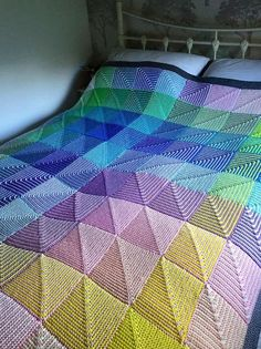 Finally finished Hue Shift Afghan Bed Throw